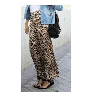 Zara satin animal print palazzo pants